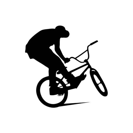 Bmx rider jumps and performs the trick. Background can be changed to any other. Vector illustration