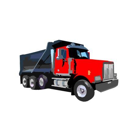 camión volquete en la ilustración de vector de fondo blanco. Vista lateral del camión volquete moderno. Vehículo para transporte de carga