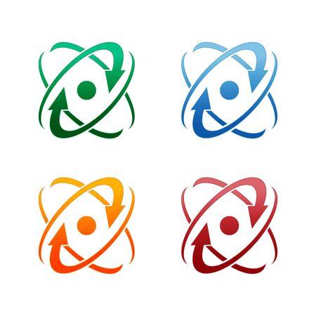 Infinity atom energy, orbit connect, nuclear reactor core, nuclear idea. integrated molecule concept Vector Illustration