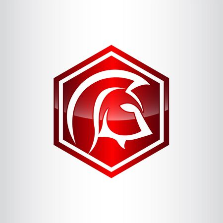 illustration spartan helmet with lance and shield logo