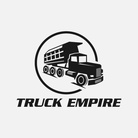 dump truck on white background vector illustration. Modern dump truck side view. Vehicle for cargo transportation