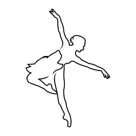 Logo, hand written sign for ballet or dance studio. Silhouette of young dancer and modern lettering. Can be used for logo, signage