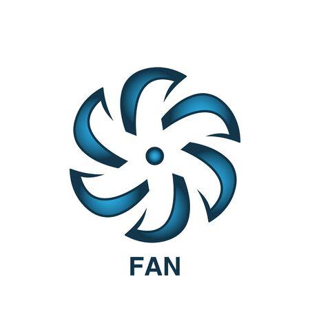 icona della ventola simbolo della ventola alla moda e moderna per logo, web, app, interfaccia utente. segno semplice dell'icona del ventilatore. illustrazione vettoriale piatta icona ventola per grafica e web design Logo