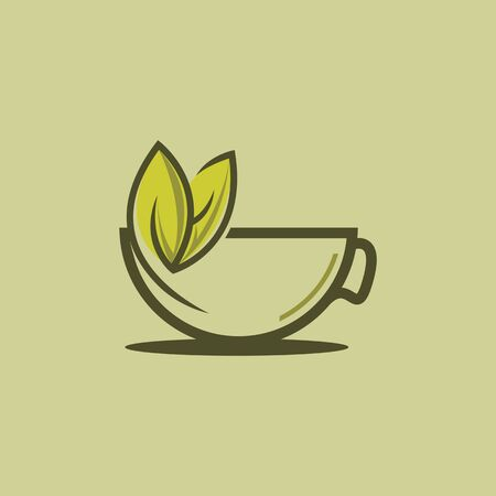 green leaf with tea cup logo concept.