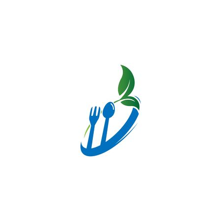 Green leafs logo. Natural and organic food logo. Eco friendly icon. Ecology icon