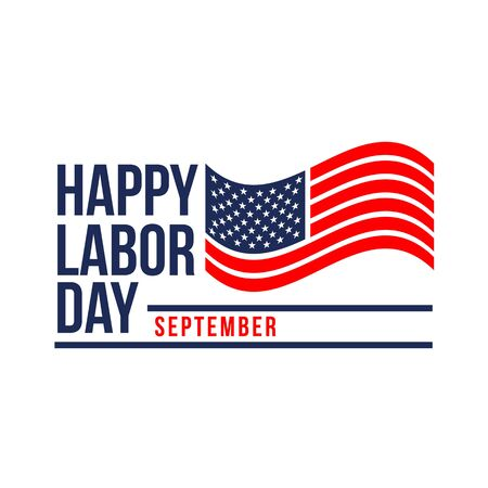 Labor Day celebration banner with USA flag and text - Labor Day United States of America