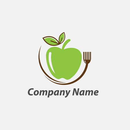 Green leafs logo. Natural and organic food logo. Eco friendly icon. Ecology icon. Illustration