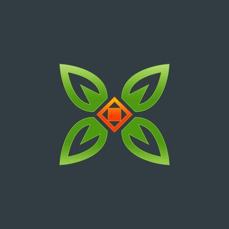 Decoration, Boutique logo. Outline, linear, leaf, eco Icon. Resort and Restaurant Logo.