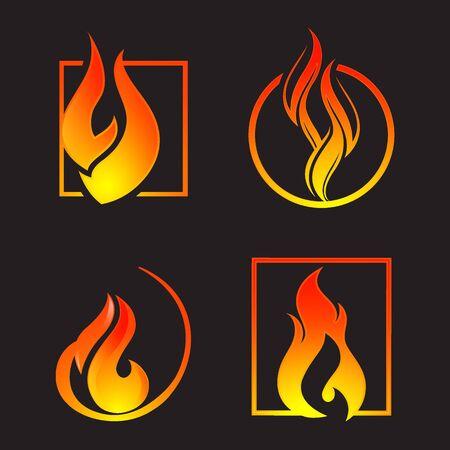 Simple light creative dangerous energy flame burns fired symbol isolated vector burning dangers blazing sticker illustration Illustration