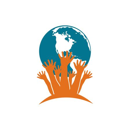 Earth Day. Hand written phrase - go green. Ecological concept - protection of the planet from pollution. Flat design
