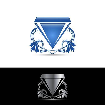 Vector illustration. Diamond on the round button.