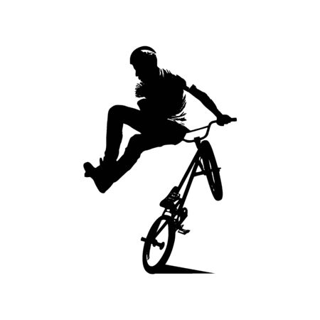 Bmx rider jumps and performs the trick. Background can be changed to any other. Vector illustration Illustration