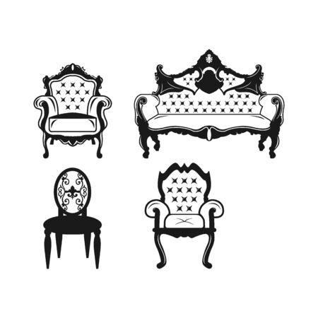concept Vintage sofa and web design. Comfortable sofa glyph icon. Symbol, logo illustration. Pixel perfect vector graphics