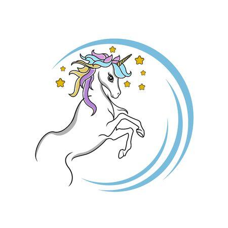 Magic unicorn - vector. Cute unicorn face Illustration