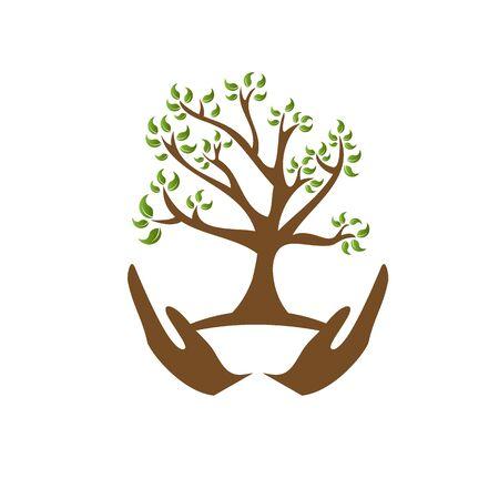 Natural and organic food logo. Eco friendly icon. Ecology icon. Illustration