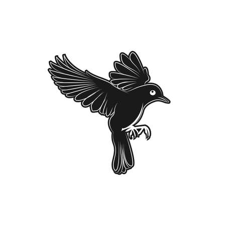 Abstract flying bird logo design outline style.flying Bird leaf branch holy logo vector art illustration.EPS 10