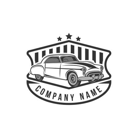 A template of classic or vintage or retro car icon design. vintage style