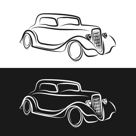 Line vector icon american auto oldtimer. Classic 1930s style. Nostalgia antique automobile. Summer travel vacation. Vintage cartoon sport car. Highway legends. Collection car. Illustration clipart.