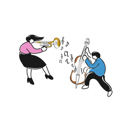 Young people musician playing instrument on the dance floor. jazz night party. Flat vector illustration, horizontal.EPS 10