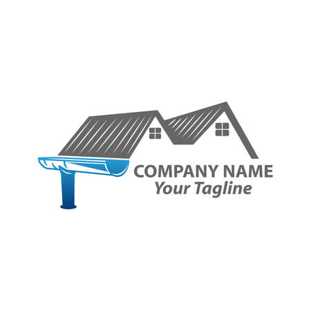 gutter and house roof logo template. Roof downspout vector design. Gutter services logotype.EPS 10 Logo