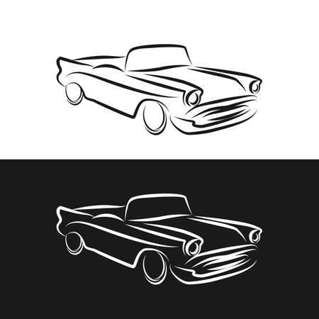 Vintage Car abstract Logo design vector template linear style. Retro Vehicle Logotype concept outline icon.