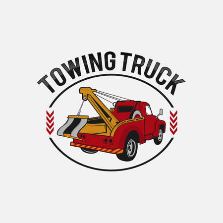 Tow truck emblem. Wrecker icon. Round the clock evacuation of cars. Design can be used as a logo, a poster, advertising, signboard. Vector element of graphic design