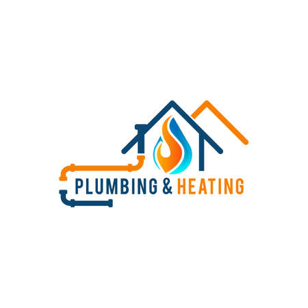 Plumbing service logo with house and water drop Stock fotó - 154654689