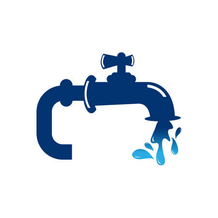 Vector illustration of faucet and a falling drop of water. Flat design of tap with liquid clean background. Kitchen and bathroom steel pipe cleaning and washing concept Stock fotó - 154655307