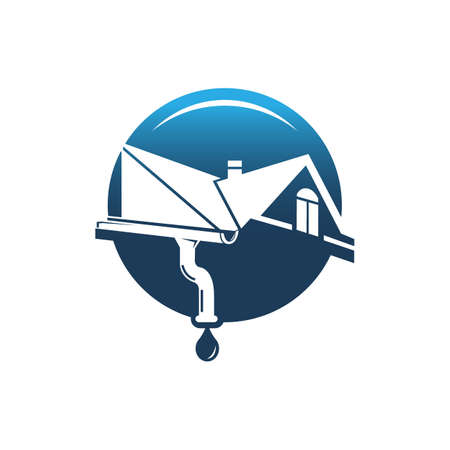 gutter and house roof logo template. Roof downspout vector design. Gutter services logotype Logo