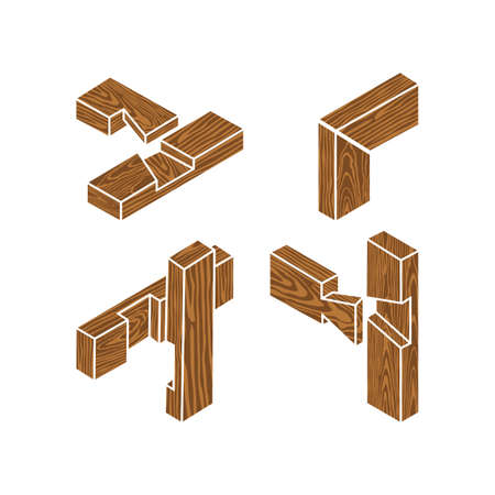 Wooden joints. The Butt Joint is an easy woodworking joint. The four basic types of joints Vectores