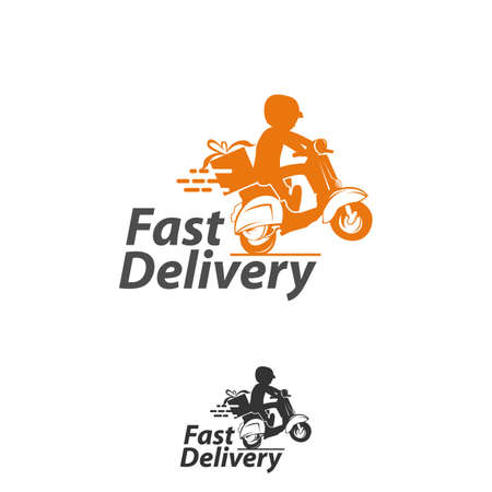 Scooter man fast delivery logo design. courier logo design template icon vector