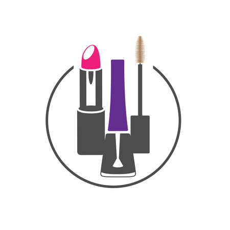 simple linear fashionable glamorous beautiful means for makeup, skin care, cosmetic beauty products, items, cosmetics, items. Vector illustration. Çizim