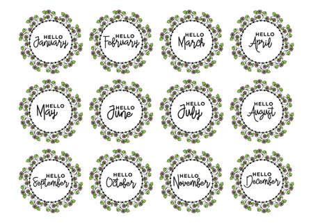 Calligraphy words for calendars and organizers. Calligraphy words for calendars and organizers. Vector Vektorgrafik