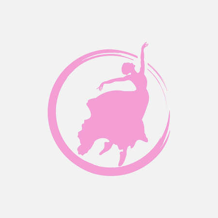Silhouette of young dancer and modern lettering. Can be used for logo, signage, posters and advertising your business, Vector illustration, sketch. 矢量图像