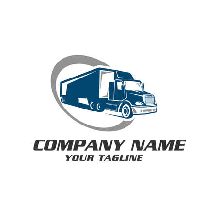 Business symbols emblems of transportation or logistics company with illustrations of various truck.