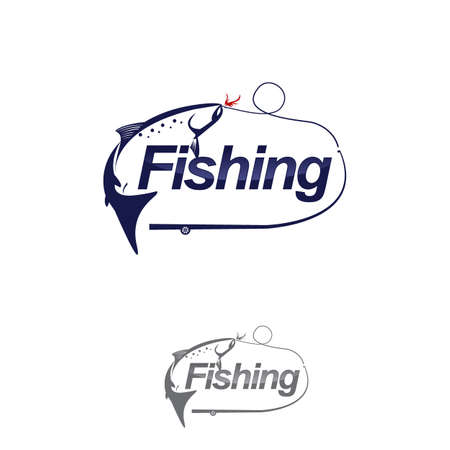 fishing logo isolated on white vector illustration