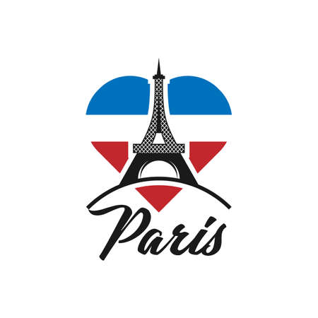 Beautiful hand written text typography design of europe european city paris name logo with red heart suitable for tourism or visit promotion