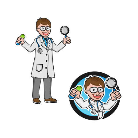 Vector medical icon doctor. Doctor with stethoscope. Medic Illustration in a flat style. Ilustracja