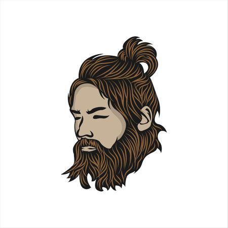Mascot logo illustration of a beard man.EPS 10