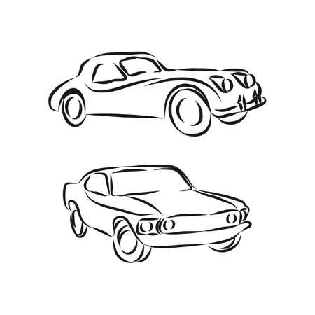 Set of Classic Car Logo, Collection of retro muscle cars and cars icon. Ilustracja