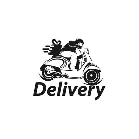 Express Ground Postal Service by Scooter Concept, Courier Service Man Vector Icon Design Vettoriali