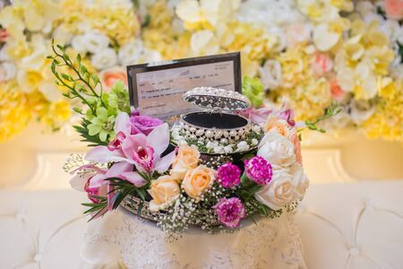 Money and wedding rings as wedding gifts that are a tradition in the Malay wedding in Malaysia.