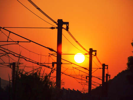 Beautiful sun set and Rails cable