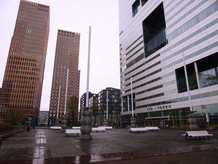 Empty square surrounded by office towers