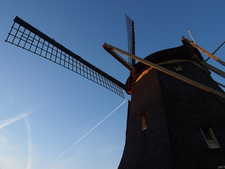 traditional windmill: Amsterdam traditional windmill under the blue sky Stock Photo