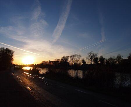 Autumn river bank sunset