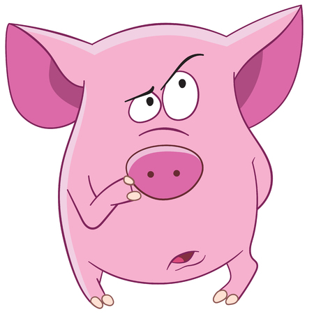 cute animal cartoon: pink pig is thinking