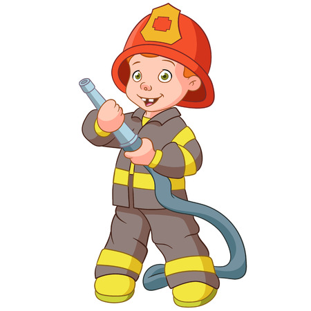 fireman: smiling firefighter with a hose