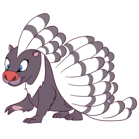 животные: улыбается полосатый дикобраз ходить