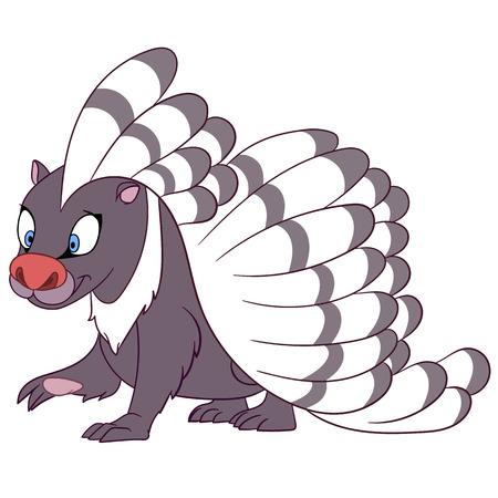 állatok: mosolygós csíkos sündisznó sétál